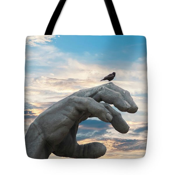 Bird On Hand Tote Bag