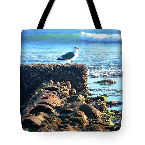 Bird On Perch At Beach Tote Bag