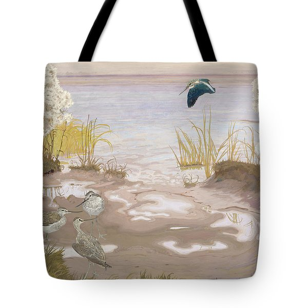 Bird On The Mud Flats Of The Elbe Tote Bag