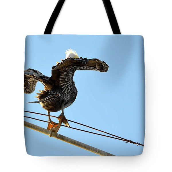 Tote Bag featuring the photograph Bird On The Wire by AJ Schibig