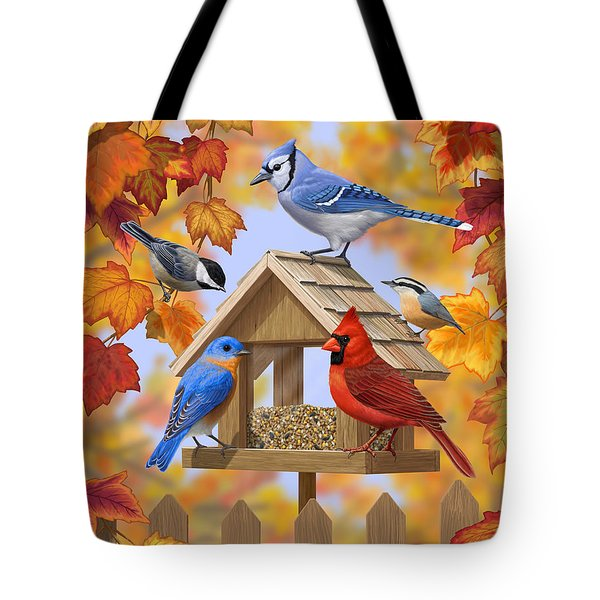 Bird Painting - Autumn Aquaintances Tote Bag
