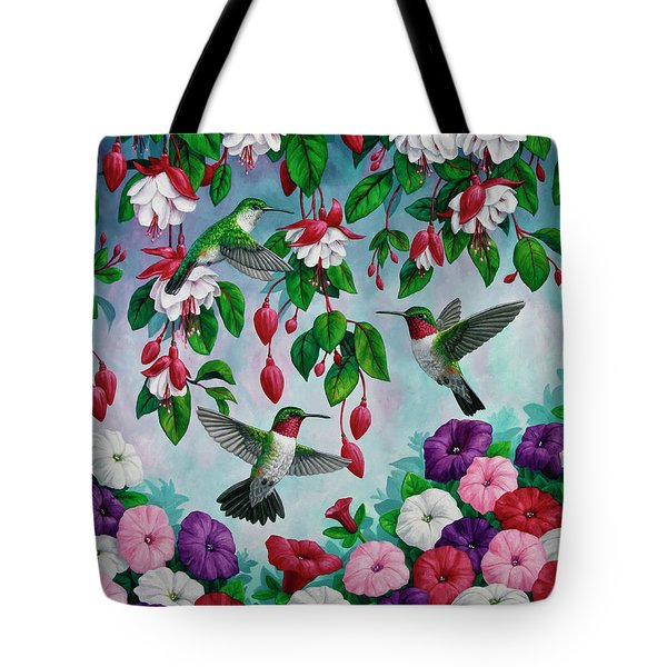 Bird Painting - Hummingbird Heaven Tote Bag by Crista Forest