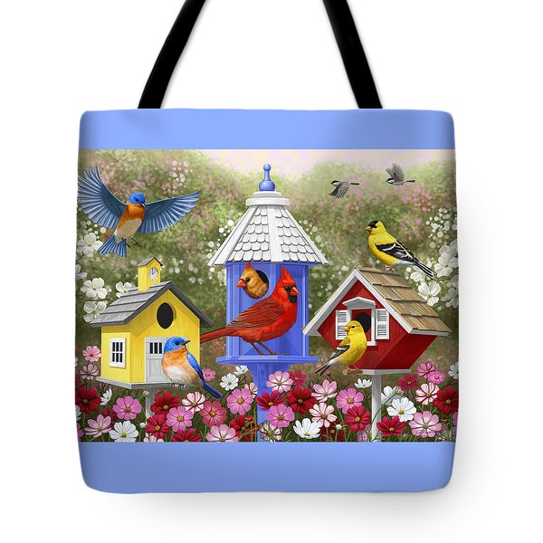 Bird Painting - Primary Colors Tote Bag by Crista Forest