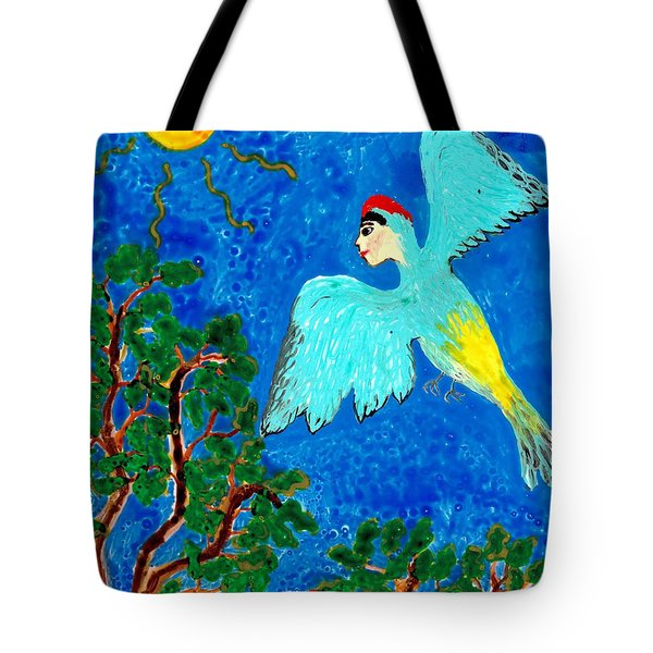 Bird People Green Woodpecker Tote Bag by Sushila Burgess