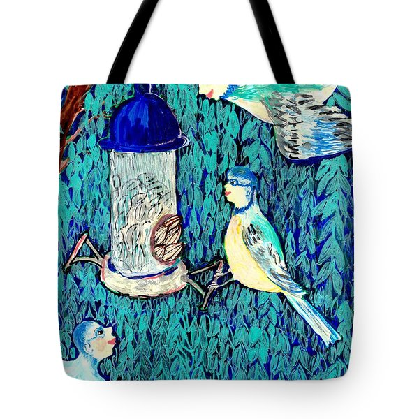 Bird People The Bluetit Family Tote Bag by Sushila Burgess