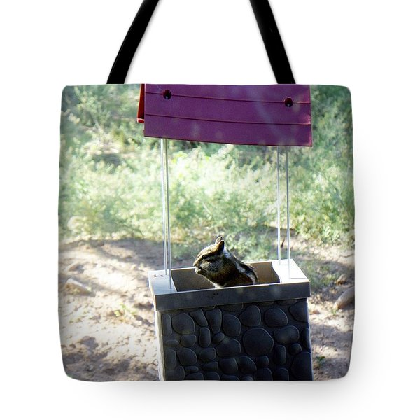Bird Seed Thief Chipmunk Tote Bag