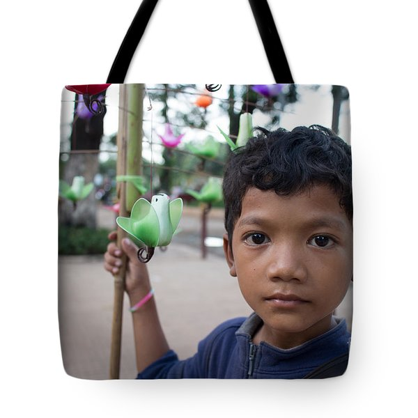 Bird Selling Boy Tote Bag