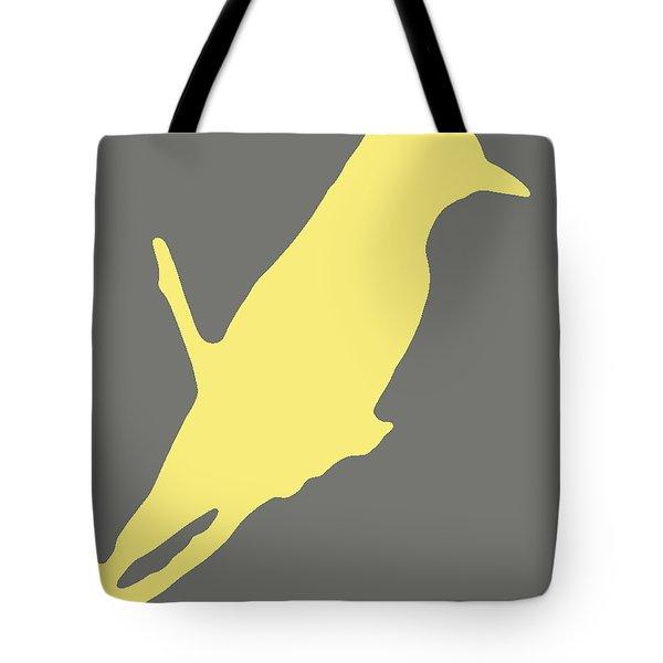 Bird Silhouette Gray Yellow Tote Bag