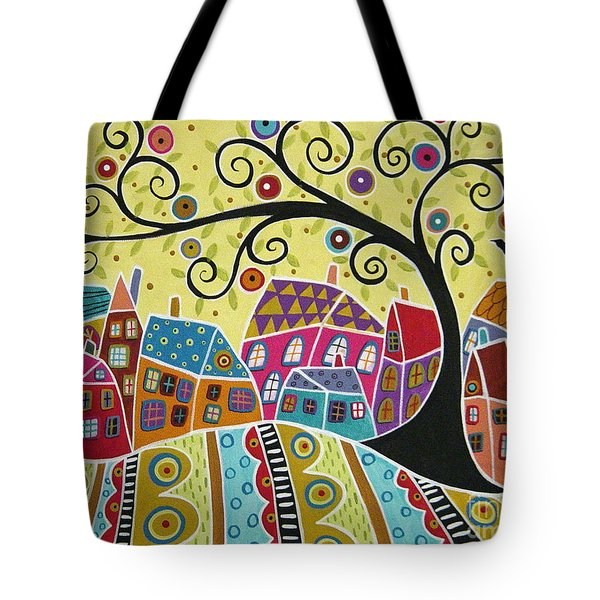 Bird Ten Houses And A Swirl Tree Tote Bag by Karla Gerard