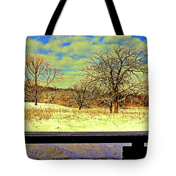Bird Watchers Bench Winter Crabtree Nature Center Cook County Il Tote Bag