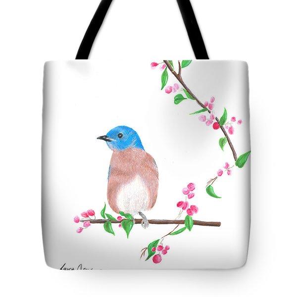 Minimal Bird And Cherry Flowers Tote Bag