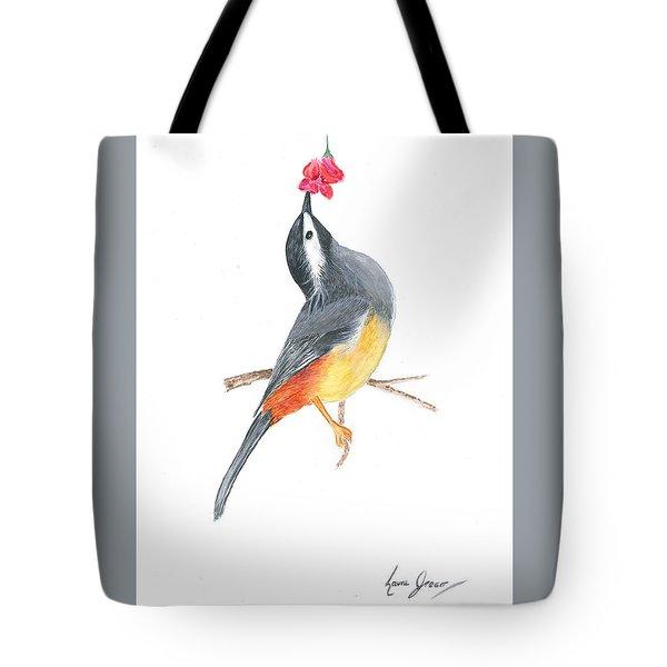 Minimal Bird And Flower Tote Bag