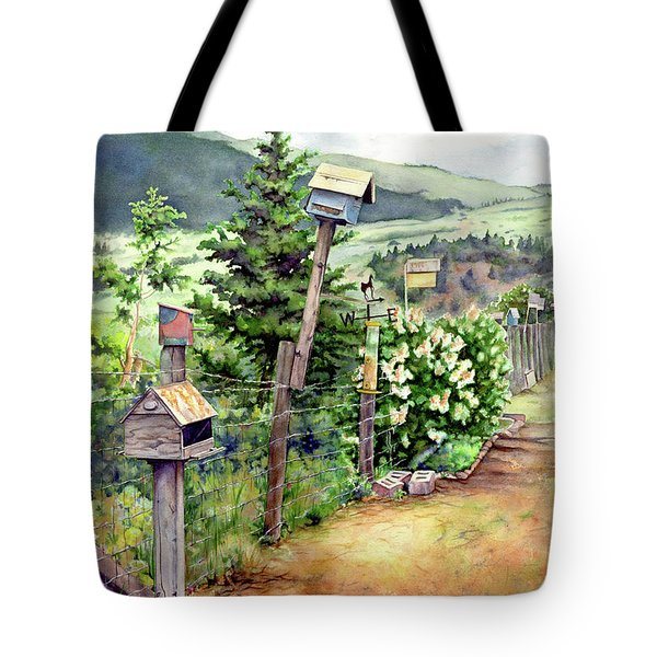 Birdhouse Alley Tote Bag by Leslie Redhead
