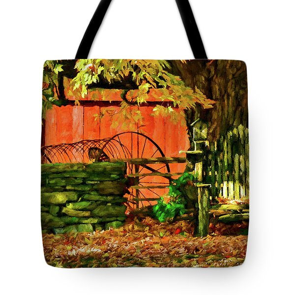 Tote Bag featuring the photograph Birdhouse Chair In Autumn by Jeff Folger