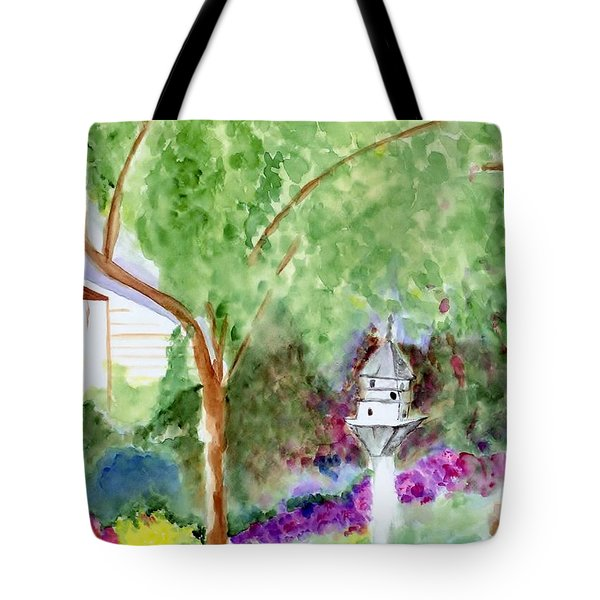 Tote Bag featuring the painting Birdhouse by Jamie Frier