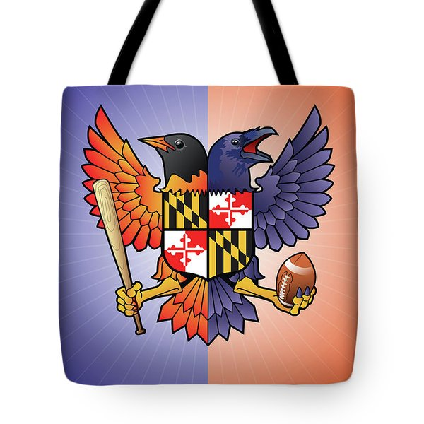 Birdland Baltimore Raven And Oriole Maryland Crest Tote Bag