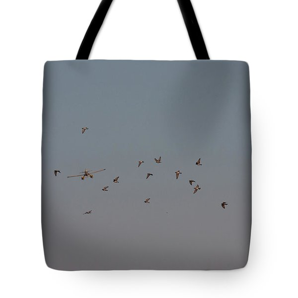 Birds And Airplane Tote Bag