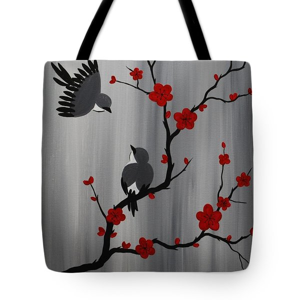 Birds And Blooms In Red Tote Bag