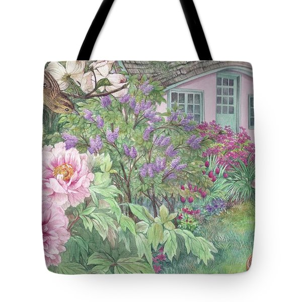 Birds And Bunnies In Cottage Garden Tote Bag