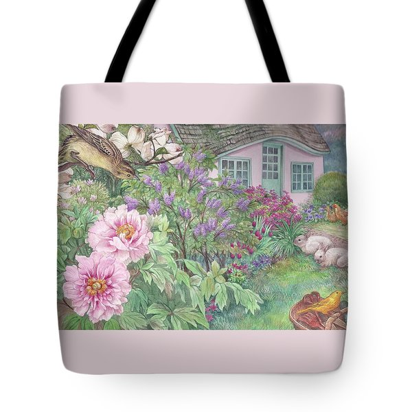 Tote Bag featuring the painting Birds And Bunnies In Cottage Garden by Judith Cheng