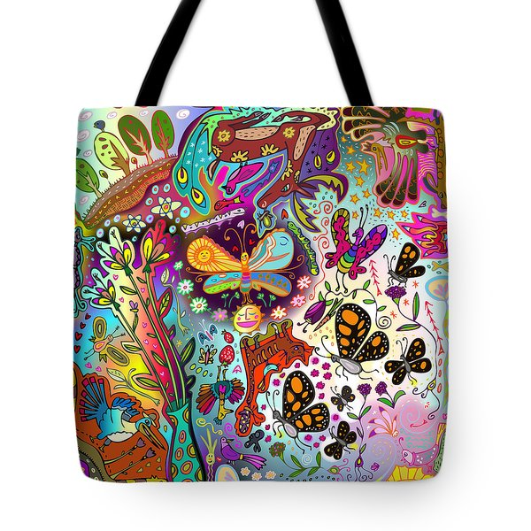 Tote Bag featuring the digital art Birds And Butterflies by Marti McGinnis