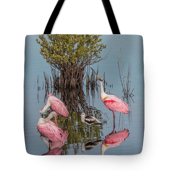 Birds And Mangrove Bush Tote Bag