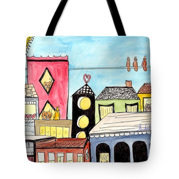 Tote Bag featuring the painting Birds And Mouse On A Wire by Lou Belcher