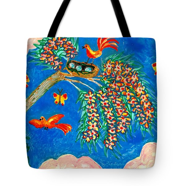 Birds And Nest In Flowering Tree Tote Bag by Sushila Burgess