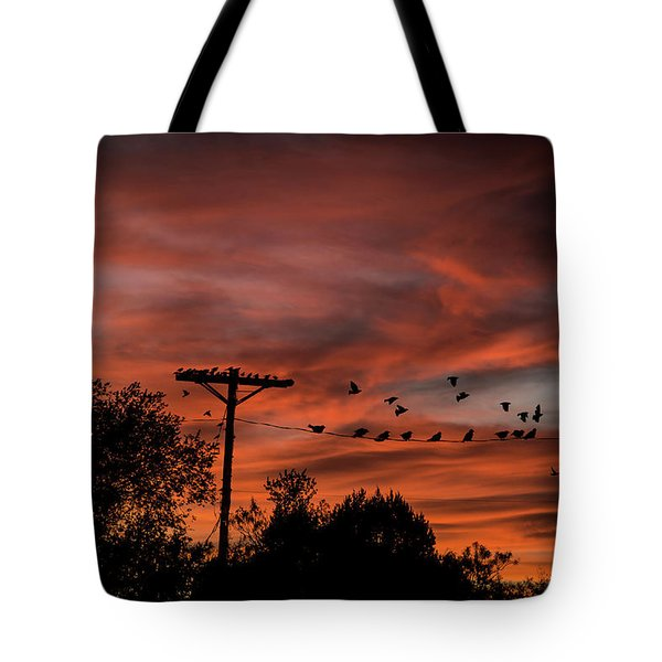 Birds And Sunset Tote Bag