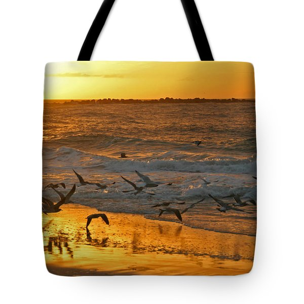 Tote Bag featuring the photograph Birds At Sunrise by Phil Mancuso