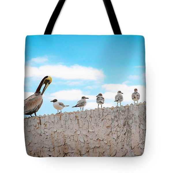 Birds Catching Up On News Tote Bag