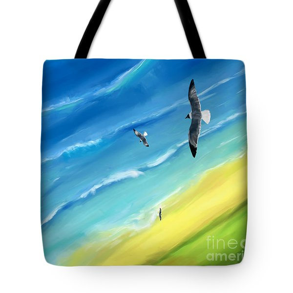 Bird's-eye Above Sea Tote Bag