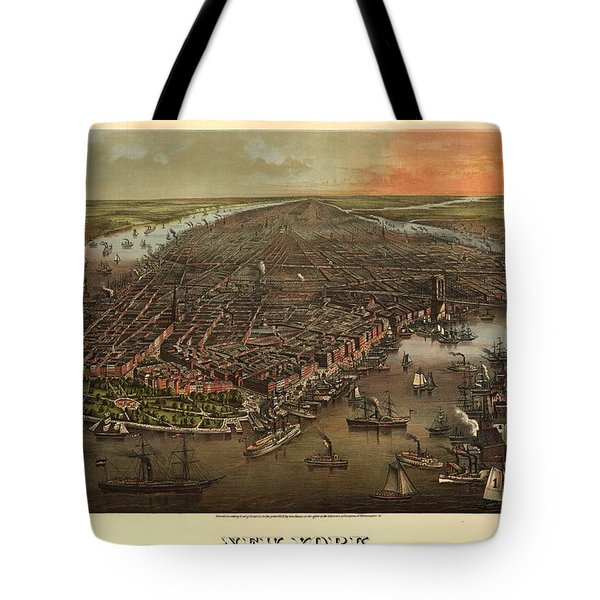 Bird's-eye View Of New York With Battery Park Tote Bag