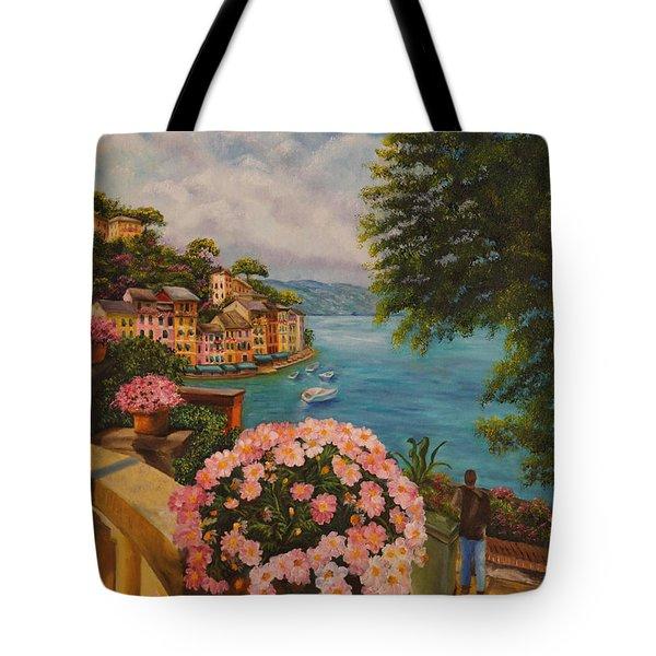 Bird's Eye View Of Portofino Tote Bag by Charlotte Blanchard