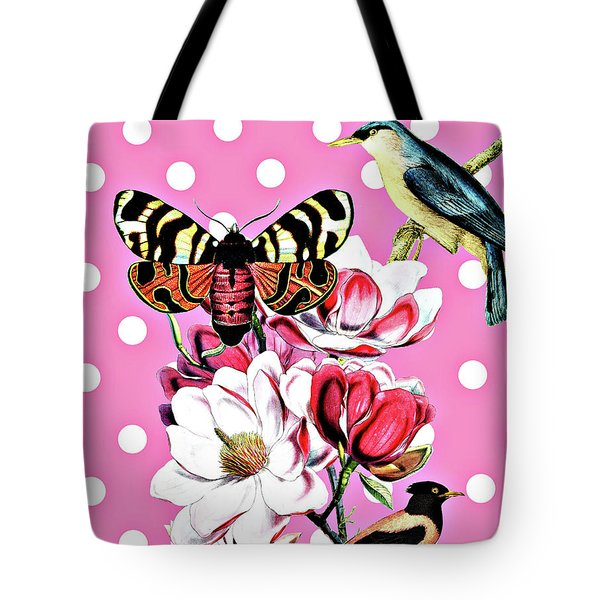 Birds, Flowers Butterflies And Polka Dots Tote Bag
