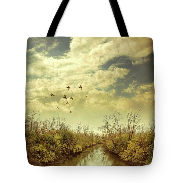 Tote Bag featuring the photograph Birds Flying Over A River by Jill Battaglia