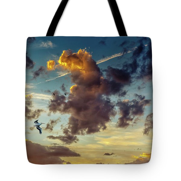 Birds In Flight At Sunset Tote Bag
