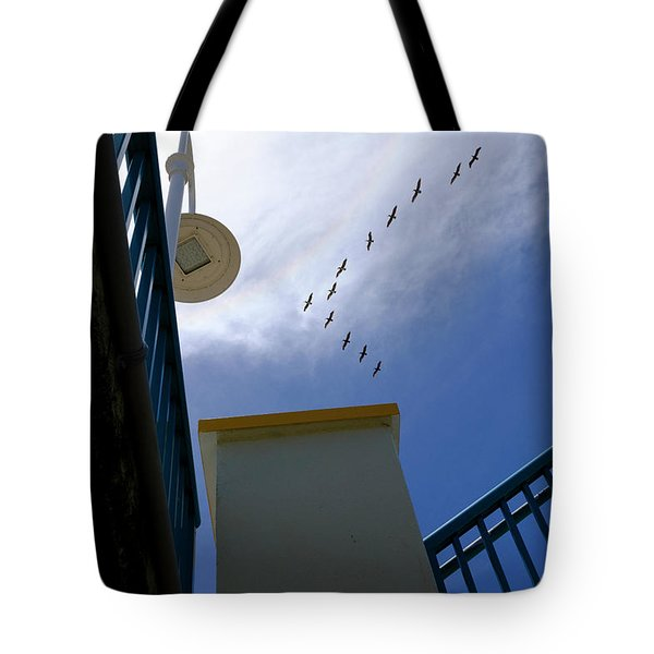 Birds In Formation Over The Boardwalk At Daytona Beach Florida Tote Bag