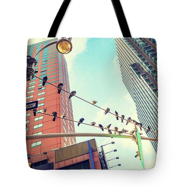 Birds In New York City Tote Bag