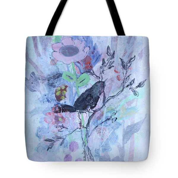 Tote Bag featuring the painting Birds Just Wanna Have Fun by Robin Maria Pedrero