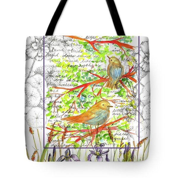 Tote Bag featuring the painting Bluebirds Nature Collage by Cathie Richardson