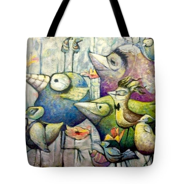 Tote Bag featuring the painting Birds Of A Feather by Eleatta Diver
