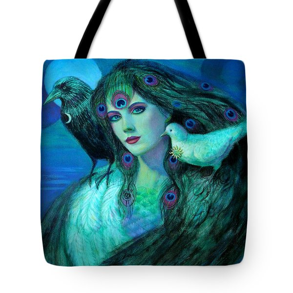 Tote Bag featuring the painting Birds Of Duality Fantasy Art by Sue Halstenberg