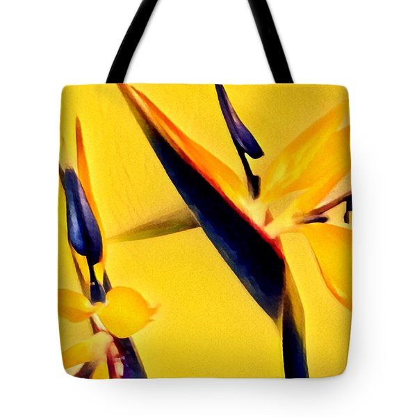 Birds Of Paradise - Two In Gold Tote Bag
