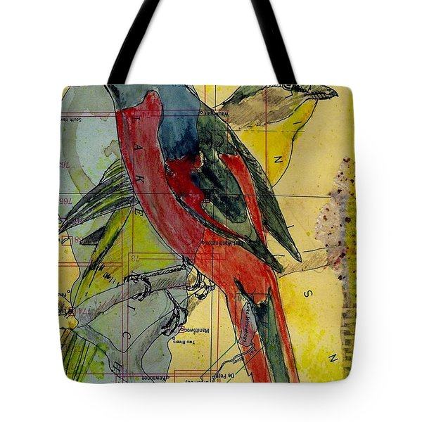 Birds On A Map Tote Bag