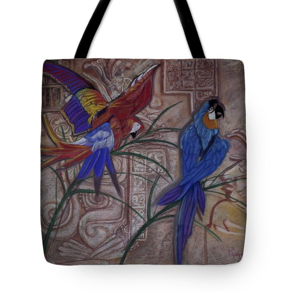 Birds On A Mayan Wall Tote Bag