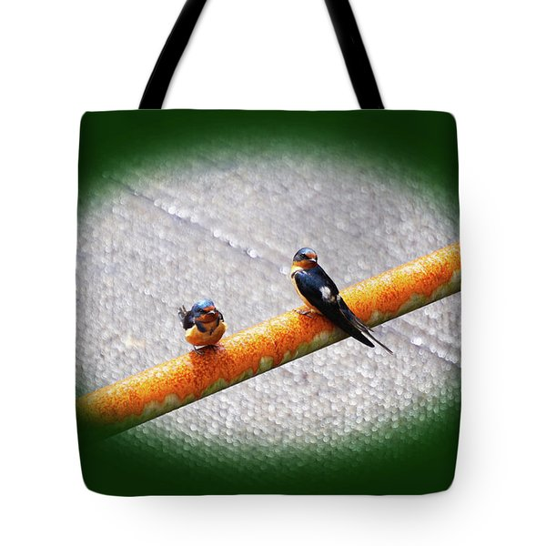Birds On A Pipe Tote Bag
