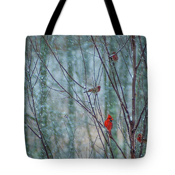 Birds On A Snowy Day Tote Bag