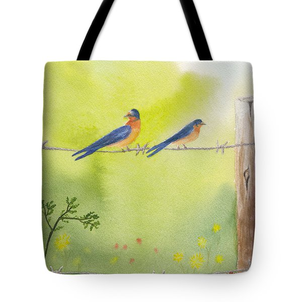 Birds On A Wire Barn Swallows Tote Bag