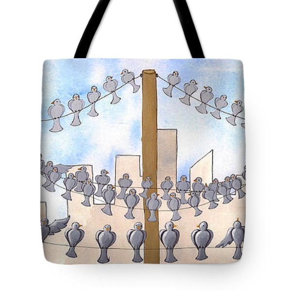 Birds On A Wire Tote Bag by Christy Beckwith